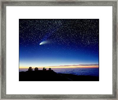 Mauna Kea Observatory & Comet Hale-bopp Framed Print by David Nunuk