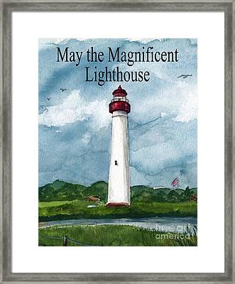 May The Magnificent Lighthouse  Framed Print by Nancy Patterson