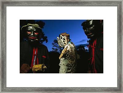 Maya Dancers Dressed As Hunters Framed Print by Steve Winter