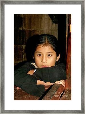 Framed Print featuring the photograph Maya Girl Coban Guatemala by John  Mitchell