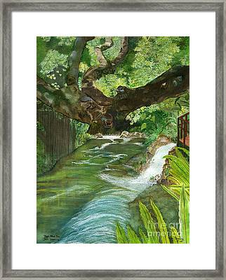 Framed Print featuring the painting Maya Ubud Tree Bali Indonesia by Melly Terpening