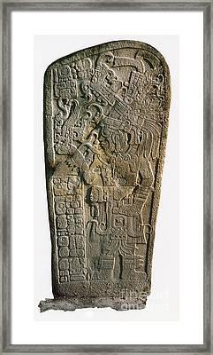Mayan Calendar Stele, 9th Century Framed Print