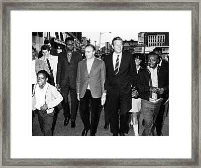 Mayor John Lindsay And Actor Marlon Framed Print by Everett