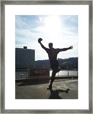 Mazeroski Statue In Pittsburgh Framed Print