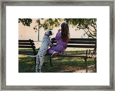 Framed Print featuring the photograph Me And A Dog Named Spot by Tanya Tanski