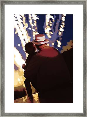 Me And Papa - 4th Of July Framed Print