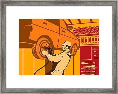 Mechanic Automotive Repairman Retro Framed Print by Aloysius Patrimonio