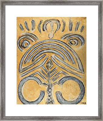 Gold Yellow Ethnic Modern Abstract Art For Contemporary Houses Framed Print by Marie Christine Belkadi