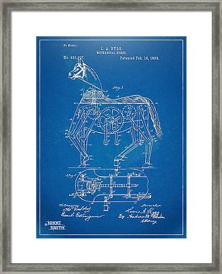 Mechanical Horse Toy Patent Artwork 1893 Framed Print by Nikki Marie Smith