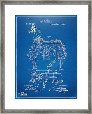 Mechanical Horse Toy Patent Artwork 1893 Framed Print