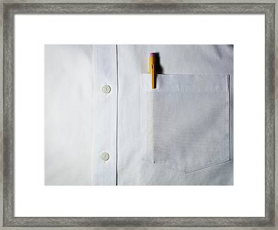 Mechanical Pencil In White Shirt Pocket. Framed Print