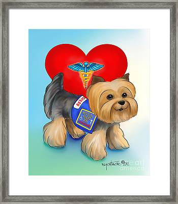Medical Alert Yorkie Framed Print by Catia Cho