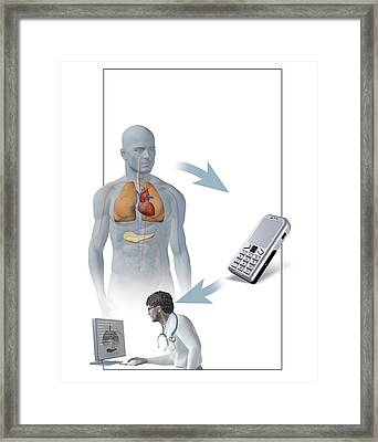 Medical Monitoring Using A Mobile Phone Framed Print by Claus Lunau