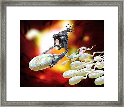 Medical Nanorobot On Sperm Cell Framed Print by Victor Habbick Visions