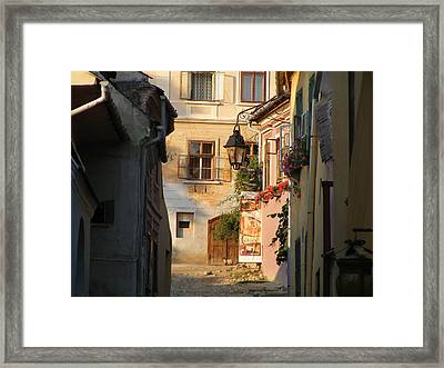 Framed Print featuring the painting Medieval City by Bogdan Floridana Oana