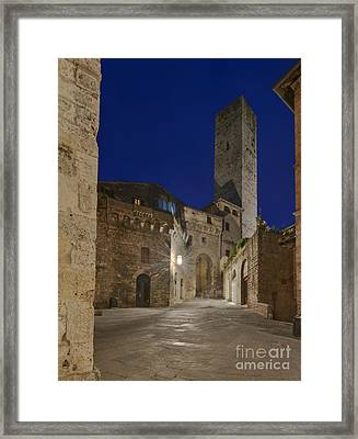 Medieval Street At Twilight Framed Print by Rob Tilley