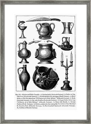 Medieval Utensils Framed Print by Granger