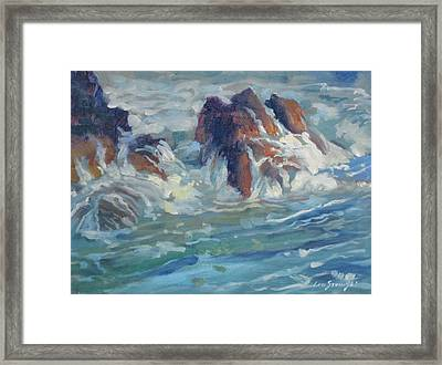 Framed Print featuring the painting Mediterranean Back Wash by Len Stomski