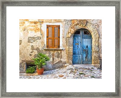 Mediterranean Door Window And Vase Framed Print