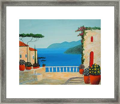 Framed Print featuring the painting Mediterranean Fantasy by Larry Cirigliano