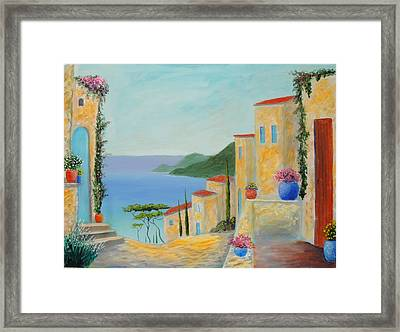 Framed Print featuring the painting Mediterranean Haven by Larry Cirigliano