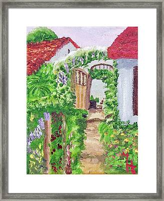 Framed Print featuring the painting Mediterranean Walkway by Margaret Harmon