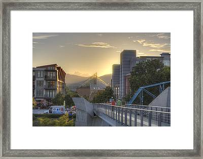 Meeting Bridges Framed Print by David Troxel