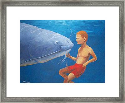 Meeting With The Giant Catfish Framed Print by John Hoesman