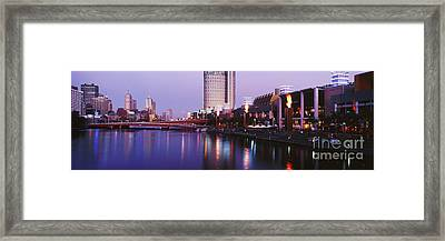 Melbourne And The Yarra River At Dusk Framed Print by Jeremy Woodhouse