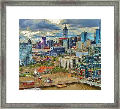 Melbourne City Blocks Of Color Framed Print