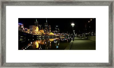 Melbourne Night Framed Print by John Monteath