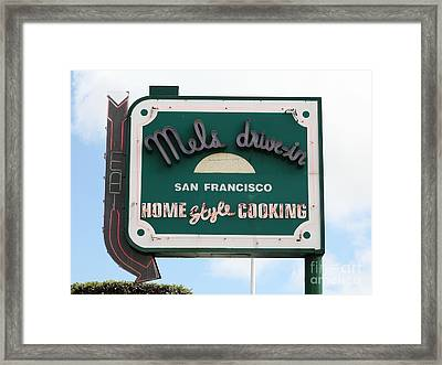 Mel's Drive-in Diner Sign In San Francisco - 5d18046 Framed Print by Wingsdomain Art and Photography
