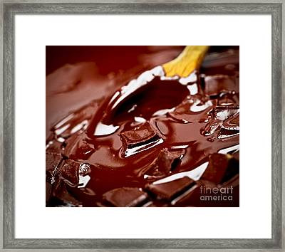 Melting Chocolate And Spoon Framed Print by Elena Elisseeva