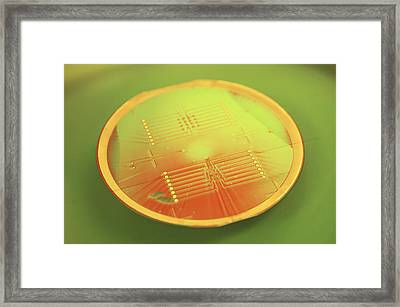 Mems Production, Gold Metal Circuitry Framed Print by Colin Cuthbert