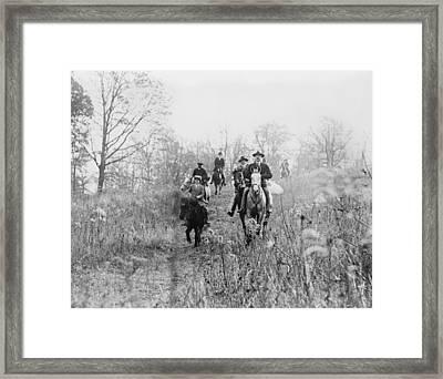 Men And Boy On Horses During Hunt Framed Print by Everett