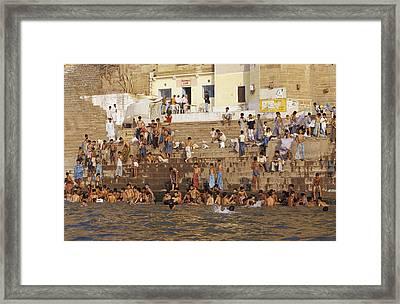 Men And Boys Bathe At An Ancient Ghat Framed Print