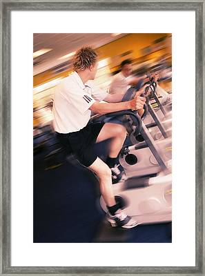 Men Exercising Framed Print by Mark Sykes