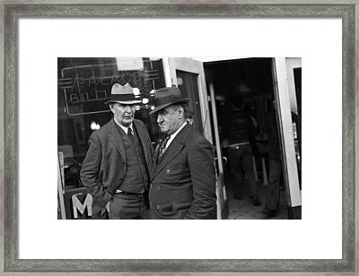 Men In Front Of A Pool Hall, Omaha Framed Print by Everett