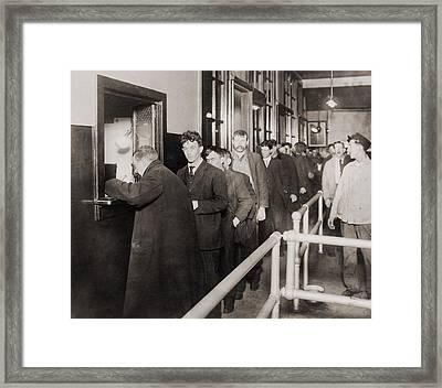 Men In Line To Register Framed Print