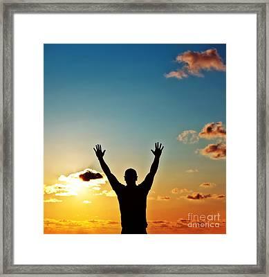 Men Silhouette At Sunset Framed Print by Anna Om