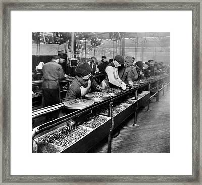 Men Work On The Flywheel Magneto Framed Print by Everett