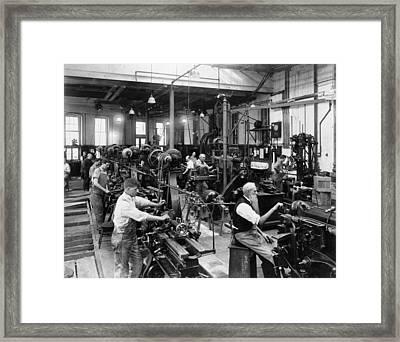Men Working At Machines Framed Print