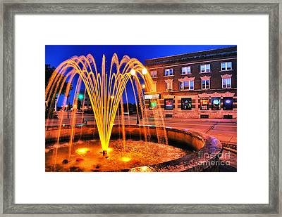 Menasha Lighted Fountain Framed Print by Mark David Zahn