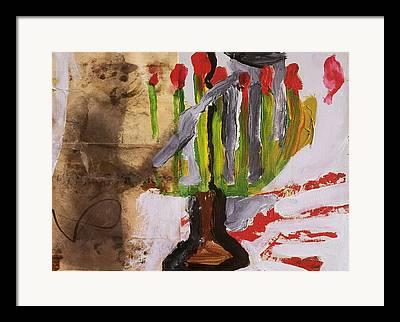8-branched Hanukkah Candleholder Framed Prints