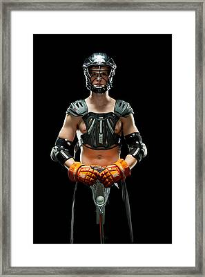 Mens Lacrosse Player Framed Print by Jim Boardman