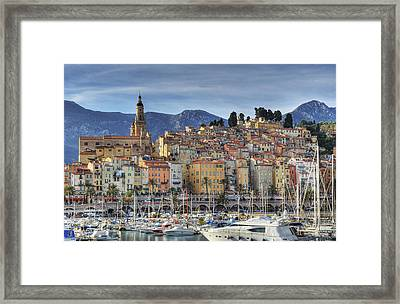 Menton City Skyline French Riviera Framed Print by Jean-Pierre Pieuchot