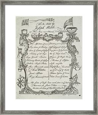 Merchant Trade Card, 1765 Framed Print by Granger