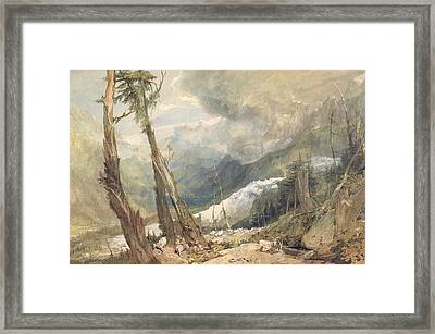 Mere De Glace - In The Valley Of Chamouni Framed Print by Joseph Mallord William Turner
