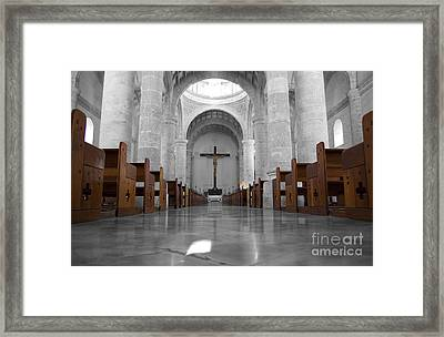 Framed Print featuring the photograph Merida Mexico Cathedral Interior Color Splash Black And White by Shawn O'Brien