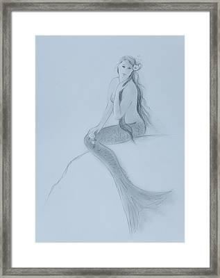 Mermaid Christina Touching Her Hair Framed Print by Tina Obrien